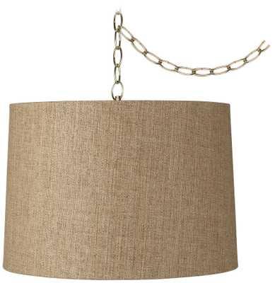 """Tan Weave 16"""" Wide Antique Brass Plug-In Chandelier - Lamps Plus"""