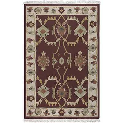 Hand-woven Burgundy Southwestern Aztec New Zealand Wool Rug (9' x 13') - Overstock