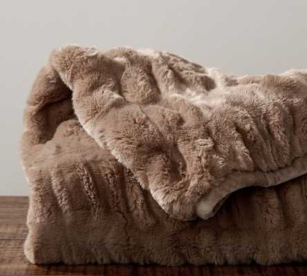"""RUCHED FAUX FUR THROW - TAUPE, 50"""" X 60"""" - Pottery Barn"""
