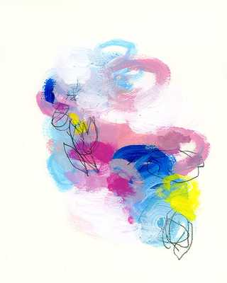 """Pink Abstract Painting with blue- 8x10""""- Unframed - Etsy"""