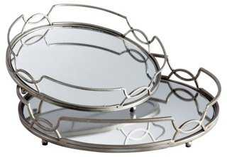 Asst. of 2 Lady Anne Mirrored Trays - One Kings Lane