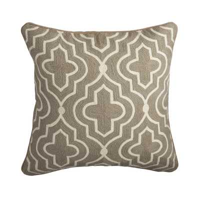 """Marrakesh Pillow Cover – Stone - 20""""sq.-NEW-Insert Sold Separately - Wisteria"""