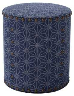 Olivia Round Pouf, Blue - One Kings Lane
