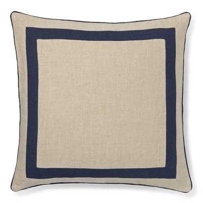 "Linen Border Pillow Cover, Navy 22"" sq./,Insert sold separately - Williams Sonoma"