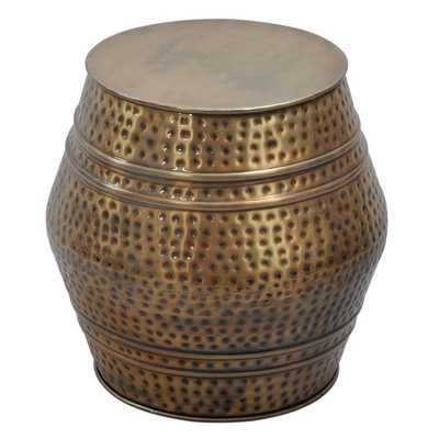 Moroccan Anti-gold Hammered Stool - Overstock