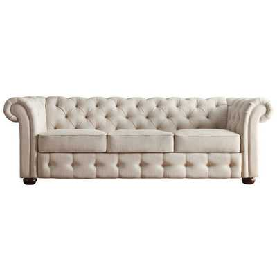 Linen Tufted Scroll Arm Chesterfield Sofa - Overstock
