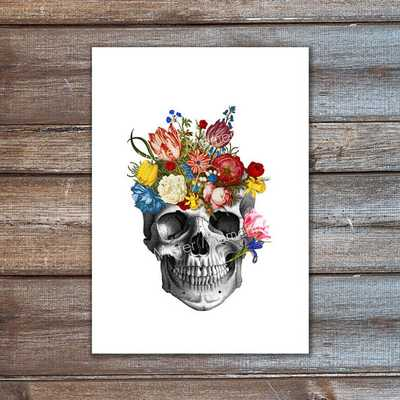 skull with colorful flowers art print mixed media A4 - Etsy