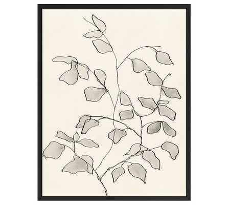 "CHARCOAL LEAVES PRINT - 24.5"" wide x 31.5"" high x 1.25"" thick - Framed - Pottery Barn"