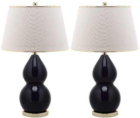 Double-Gourd Ceramic Lamp in Black - Domino