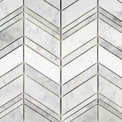 Dart Winged Carrera 11-3/4 in. x 11-3/4 in. x 10 mm Polished Marble Mosaic Tile - Home Depot