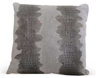 Croc Suede Pillow, Gray - One Kings Lane
