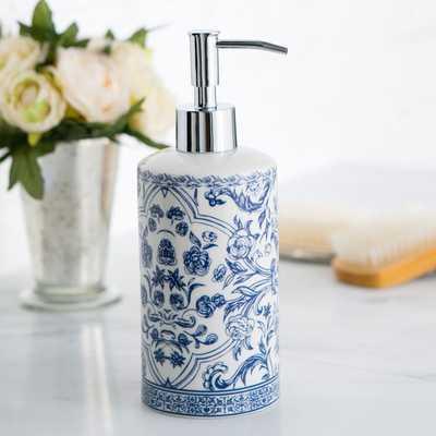 Porcelain Lotion Dispenser, Blue & White - Birch Lane