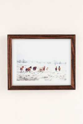 """Kevin Russ Winter Horses Art Print- 18""""x24""""- Framed - Urban Outfitters"""