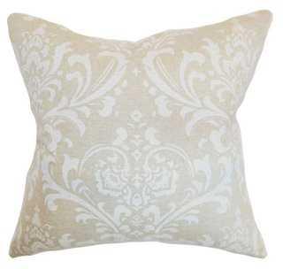 Olavarria Cotton Pillow - Ivory - 18x18 - Down/feather insert - One Kings Lane