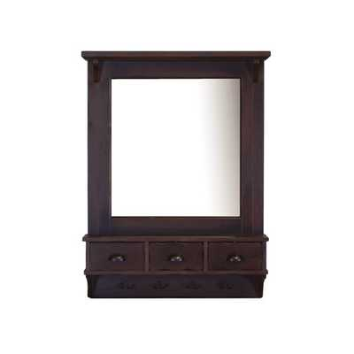 Bombay Brown Wall Mirror with Drawers and Hooks - Overstock