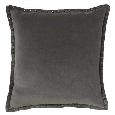 "Studded Velvet Pillow Cover - Iron (20"" Sq.) - Insert sold separately - West Elm"