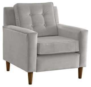 Winston Chair, Light Gray Velvet - One Kings Lane
