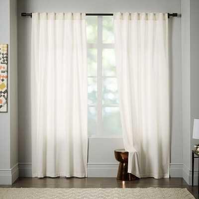"Velvet Pole Pocket Curtain, Set of 2, Ivory, 48""x84"", Unlined - West Elm"
