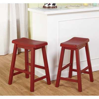 Simple Living Belfast 24-inch Red Saddle Stool (Set of 2) - Overstock