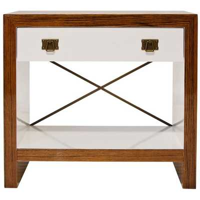 Worlds Away Dalton Rosewood Veneer and White Lacquer Nightstand - Candelabra