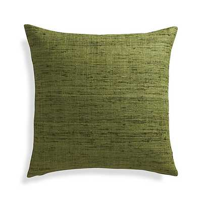 """Trevino Chive Green 20"""" Pillow with Feather-Down Insert - Crate and Barrel"""