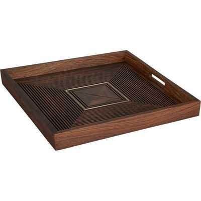 Sheesham tray with brass inlay - CB2