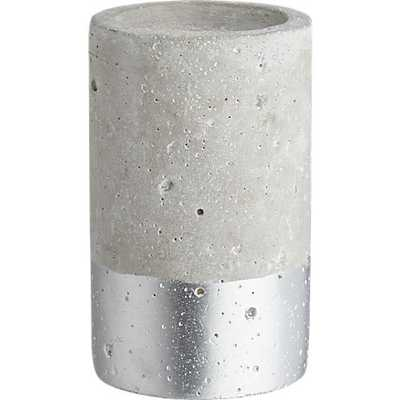 Win-win silver-dipped pillar candle holder - CB2