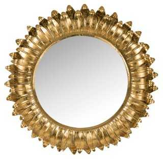 "35"" Sunburst Mirror, Gold - One Kings Lane"