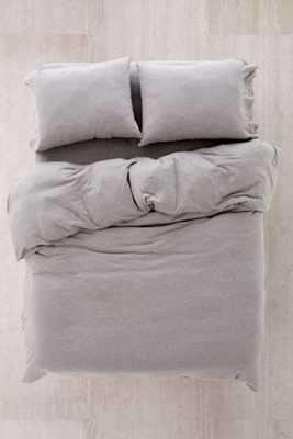 Heathered Jersey King Duvet Cover - Grey - Urban Outfitters