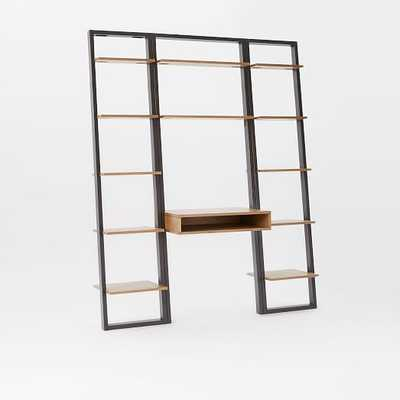 Ladder Shelf Desk + Narrow Bookshelf Set - West Elm