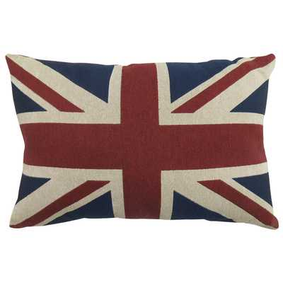 "Union Jack Tapestry Decorative Cinnibar Throw Pillow - 12"" H x 18"" W - Polyester/Polyfill - Wayfair"