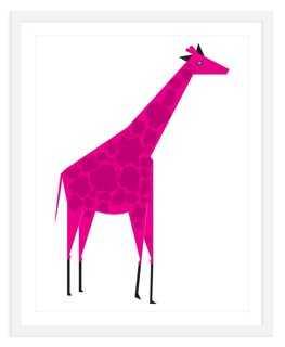 """ModernPOP, Giraffe Pink, Mini - 18"""" x 22"""" - Framed - One Kings Lane"""