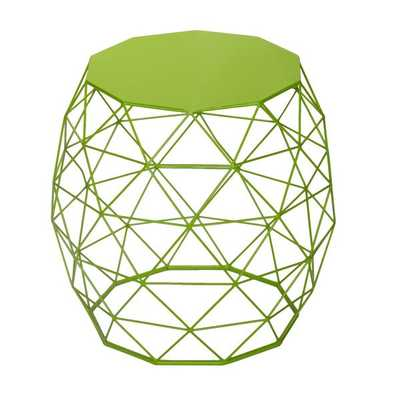 Adeco Triangle Pattern Bright Yellow Round Iron Table/ Stool - Overstock