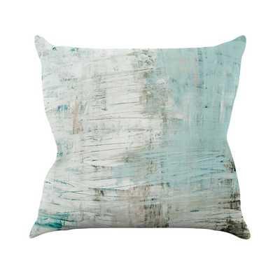 "Bluish by Iris Lehnhardt Throw Pillow- 18"" H x 18"" W x 3""D- Teal and gray- Polyester/Polyfill insert - AllModern"