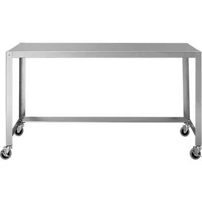 Go-cart stainless rolling console table - CB2