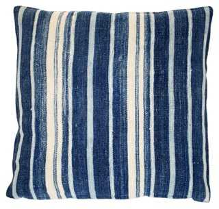 Multi-Indigo Stripe Pillow - 18x18 - With Insert - One Kings Lane