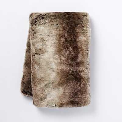 Faux Fur Ombre Throw - Mocha - West Elm