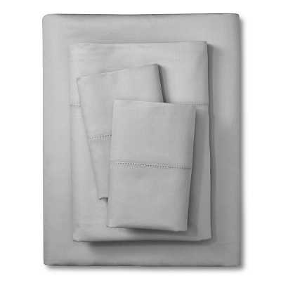 Elite Home Hemstitch Solid 400TC Sheet Set - Grey - Queen - Target