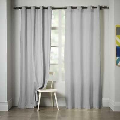 """Linen Cotton Grommet Curtain - 96""""L-Platinum - West Elm"""