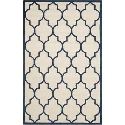 Safavieh Handmade Moroccan Cambridge Ivory/ Navy Wool Rug (8' x 10') - Overstock