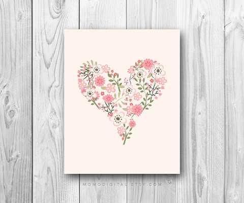 "Floral Heart, Baby Girl Nursery Print - 8x10"" - Unframed - Etsy"