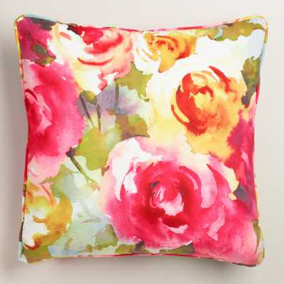 "Watercolor Roses Velvet Throw Pillow - 18""Sq. - Polyester filling - World Market/Cost Plus"