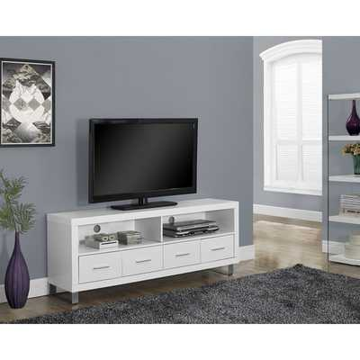 White Hollow Core 60-Inch 4-Drawer TV Console - Overstock