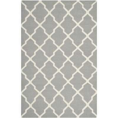 Moroccan Reversible Dhurrie Grey Wool Area Rug - Overstock