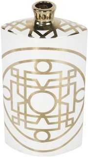 "11"" Deco Vase, White/Gold - One Kings Lane"