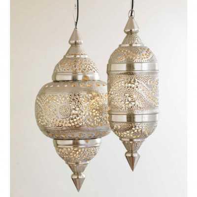 Medium Hanging Lamp - Silver Finish - vivaterra.com
