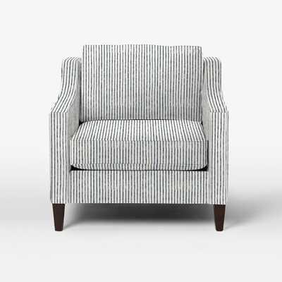 Paidge Chair-Prints-Painted Stripe-Regal Blue-Cone Pecan Legs-Down Blend Fill - West Elm