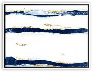 "Jennifer Latimer, Mod Undercurrent, Navy- 40"" x 30""- White frame without mat - One Kings Lane"