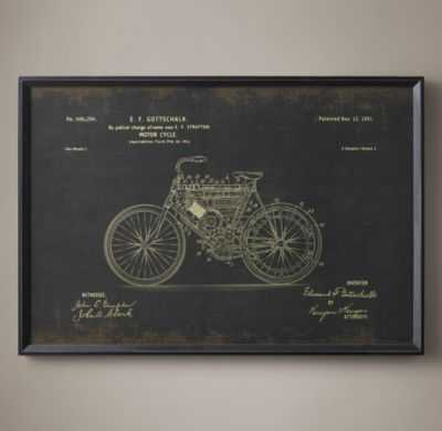 "MOTORCYCLE PATENT DOCUMENT - BLACK - 41½""W X 28½""H - FRAMED - RH"
