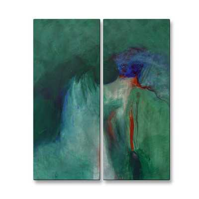 'Hidden Falls' by Mary Lea Bradley 2 Piece Original Painting on Metal Plaque Set - Wayfair